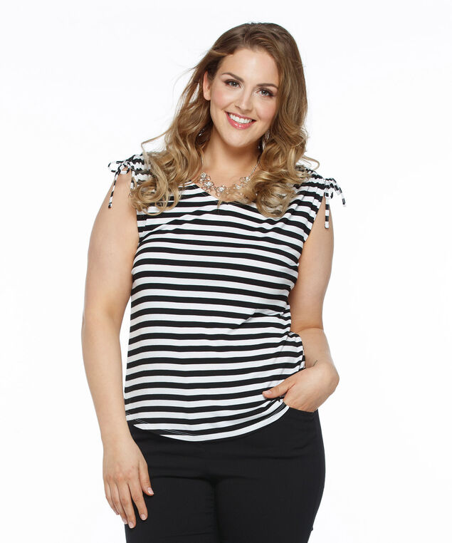 Tie Sleeve V-Neck Tee, White/Black Stripe, hi-res
