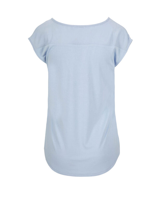 Extended Sleeve Mixed Media Henley Top, Soft Blue, hi-res