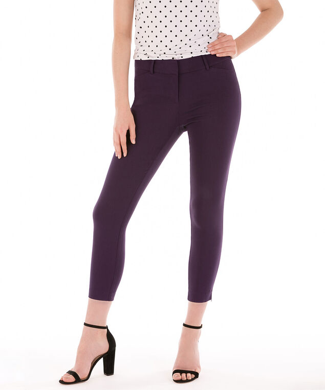 Microtwill Fly Front Ankle Zipper, Deep Purple, hi-res