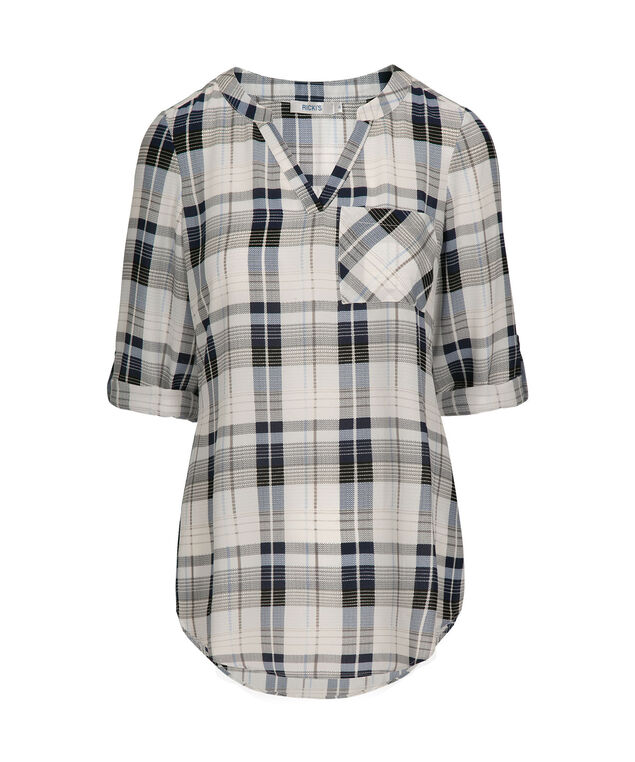 Plaid Henley Roll Sleeve Blouse, Blue/White/Grey/Black, hi-res