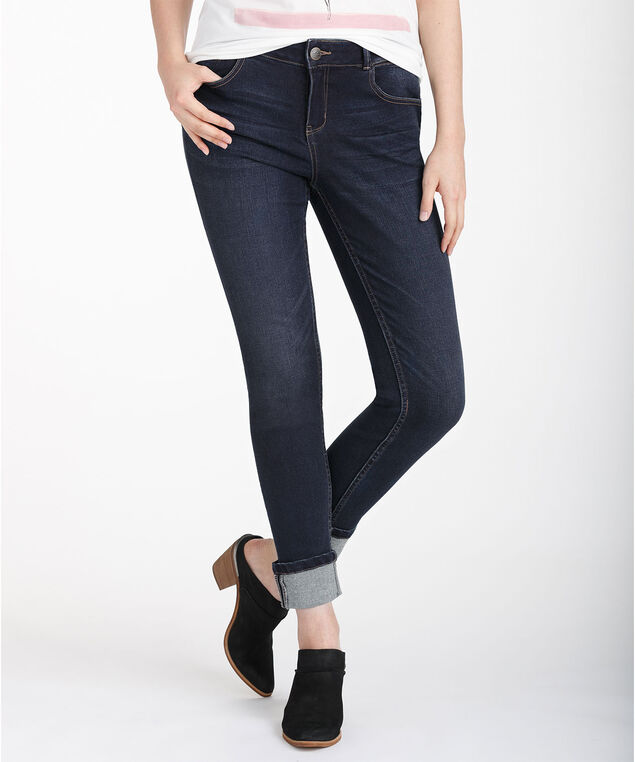 Turn-back Cuff Slim Jean, Dark wash, hi-res