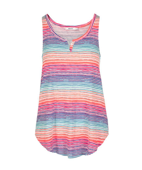 Blurry Stripe Notch Neck Tank Top, Multi-Colour Stripe, hi-res