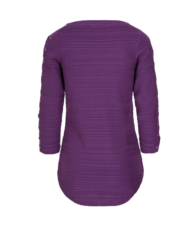 Lace-Up Sleeve Pullover, Grape, hi-res