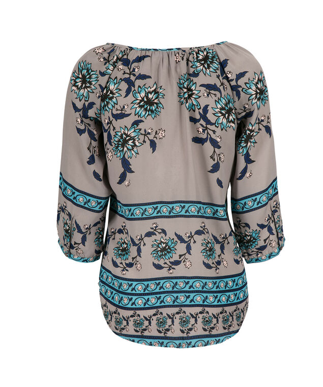3/4 Sleeve Peasant, Teal/Grey Print, hi-res