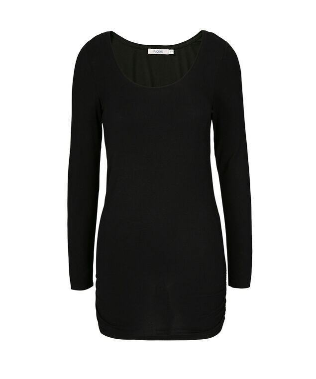 Ruched Tunic Essential, Black, hi-res
