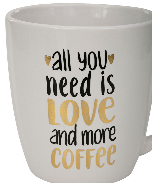 """Love & Coffee"" Jumbo Mug, Black/Gold/White, hi-res"