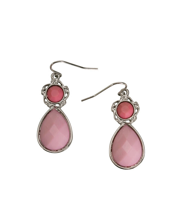 Teardrop Pendant Earring, Hot Pink/Soft Pink/Rhodium, hi-res