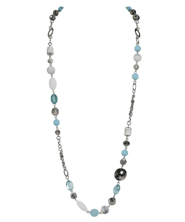 Long Stationed Bead Necklace, Spearmint/Rhodium, hi-res