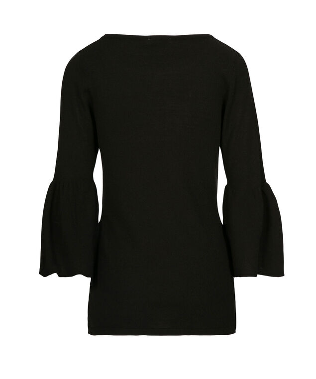 Flounce Sleeve Pullover Sweater, Black, hi-res