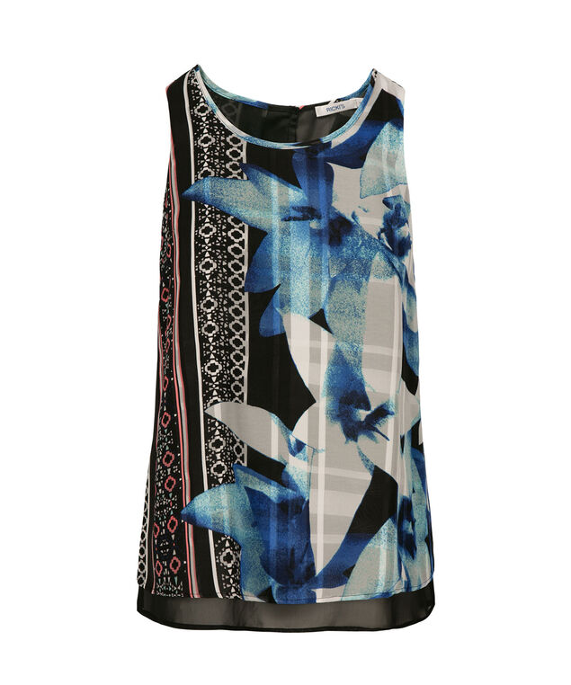 Double Layer Zipper-Back Sleeveless Blouse, Black Floral, hi-res