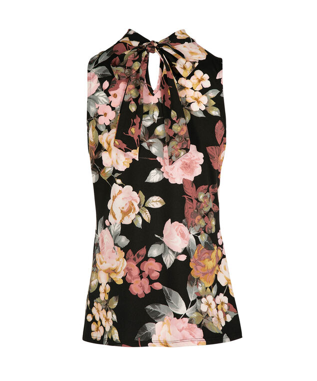 Sleeveless Neck-Tie Choker Top, Black/Pink Floral, hi-res