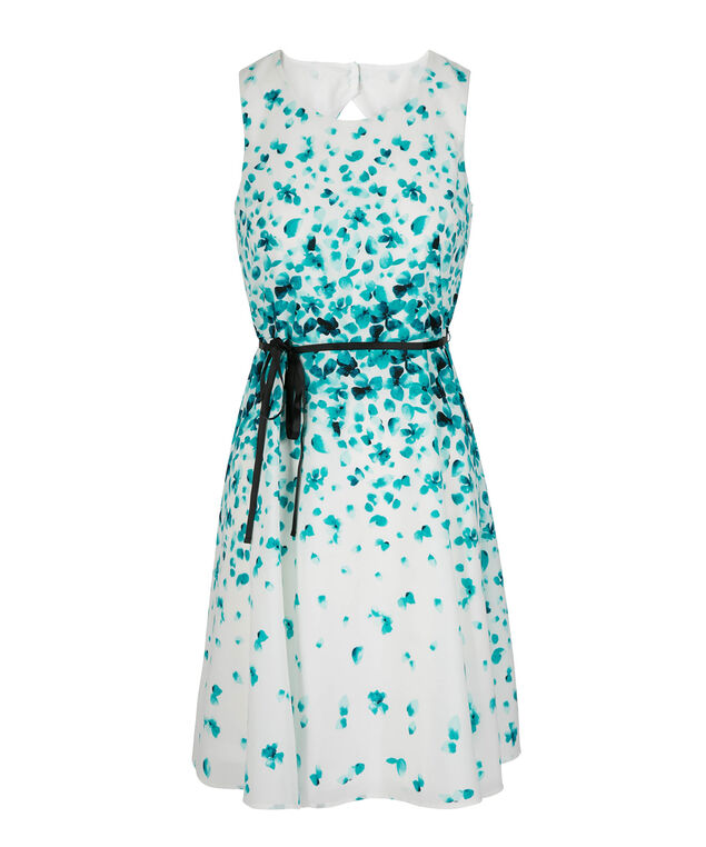 Sleeveless Floral Open Back Dress, White/Teal, hi-res
