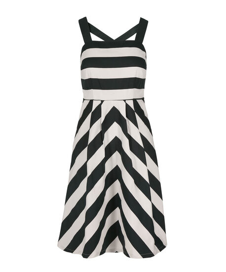 Stripe X-Back Sateen Dress, White/Navy, hi-res