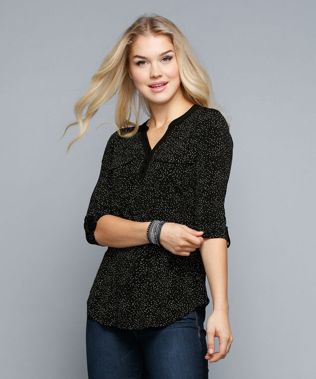 Tab Sleeve Henley Top, Black/Milkshake, hi-res