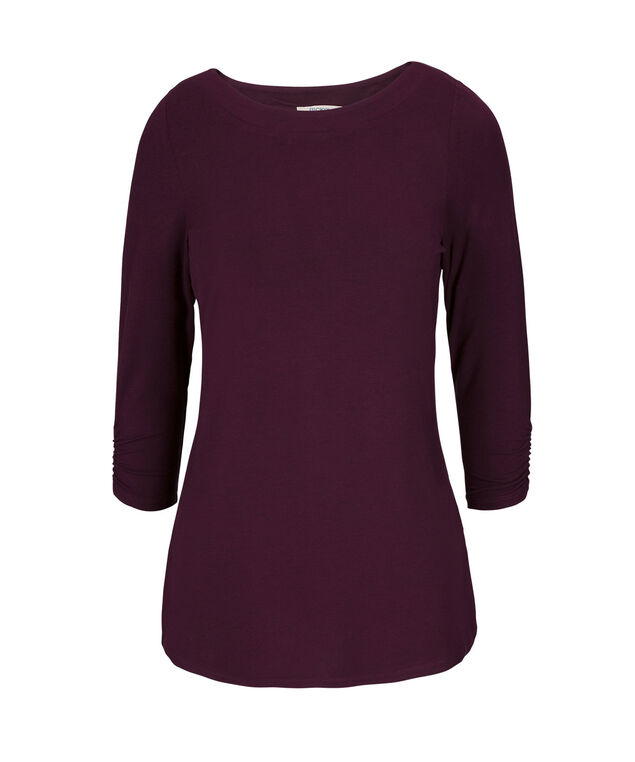 3/4 Sleeve Boatneck, Wineberry, hi-res
