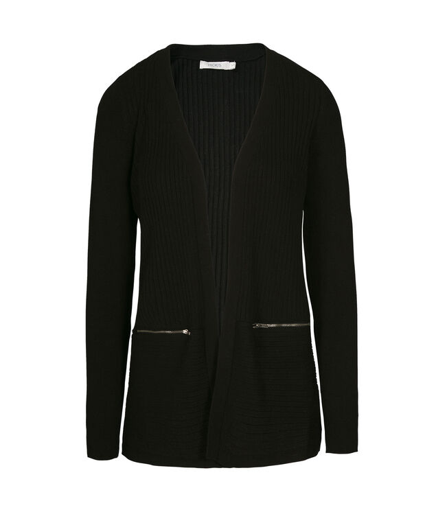 Ribbed Open Cardi with Zipper Pockets, Black, hi-res