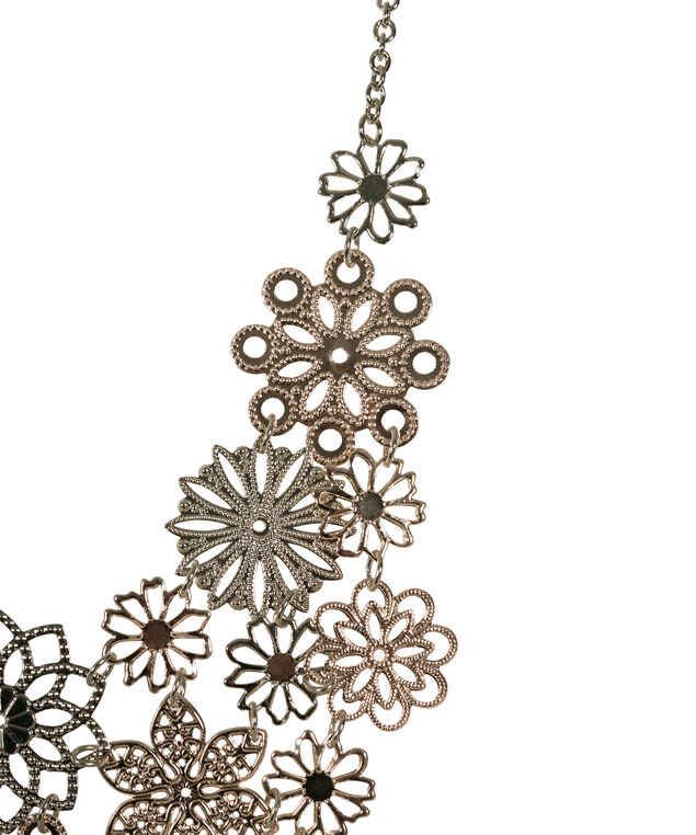 Mixed Metal Floral Statement Necklace, Rhodium/Soft Gold, hi-res