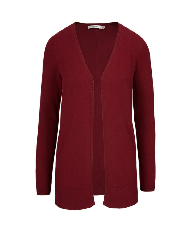 Fine Gauge Open Cardigan, Cranberry, hi-res