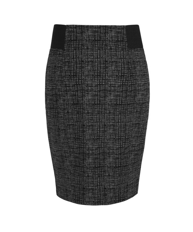 Microtwill Elastic Detail Pencil Skirt, Black/White Print, hi-res