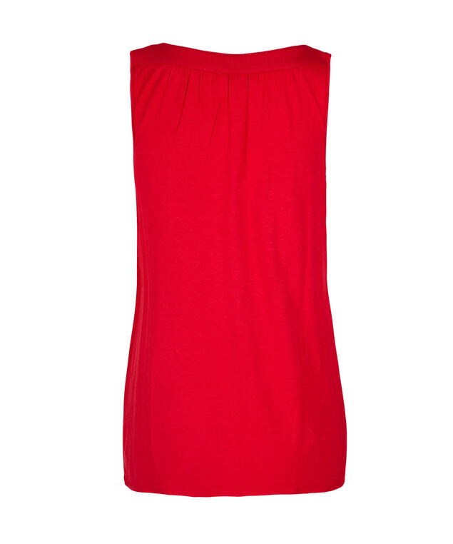 Sleeveless Gathered Neck Knit Tank, Red, hi-res