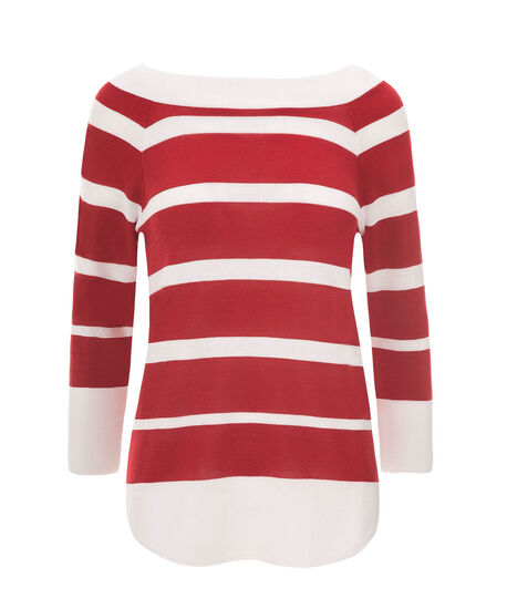 Wide Stripe Pullover, Red/White, hi-res
