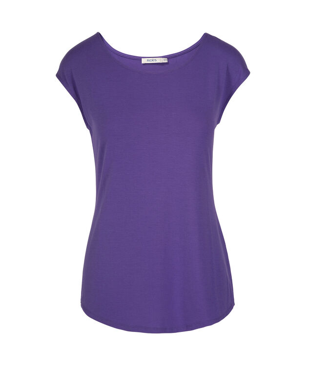 Extended Sleeve Scoop Neck Tee, Iced Violet, hi-res