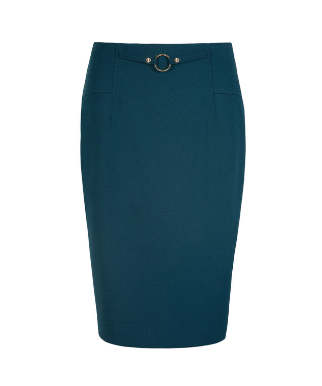 Hardware Detail Scuba Pencil Skirt, Midnight Teal, hi-res
