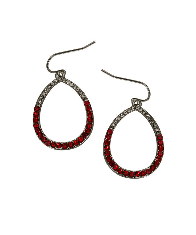 Crystal Open Teardrop Earring, Cherry/Clear/Rhodium, hi-res