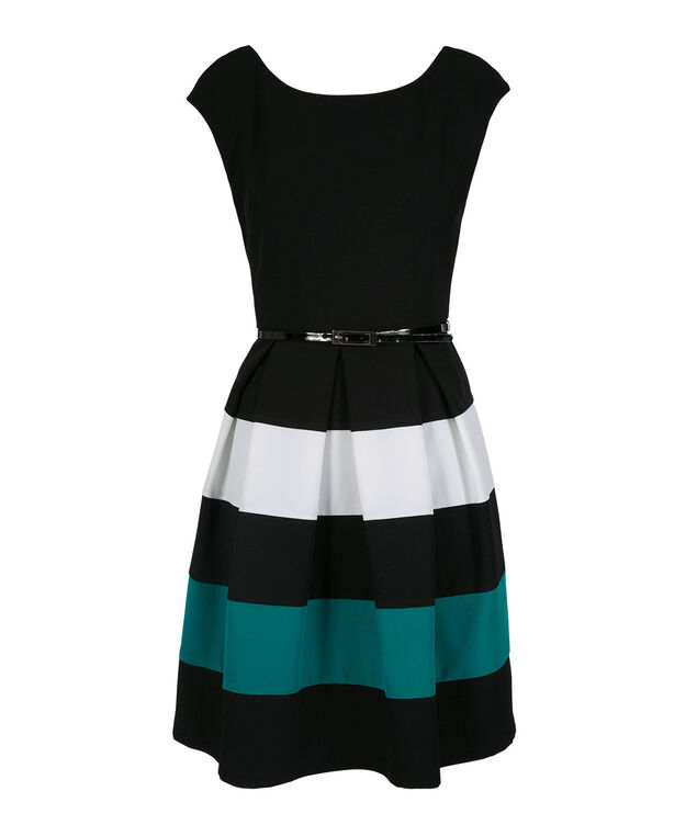 Extended Sleeve Color Block Dress, Black/White/Mint, hi-res