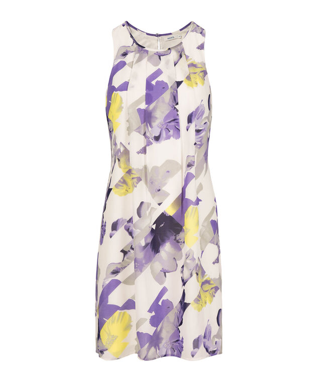 Chiffon Trapeze Dress, White/Purple/Yellow, hi-res