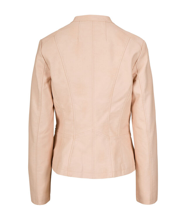 Quilted Pleather Moto Jacket, Soft Peach, hi-res