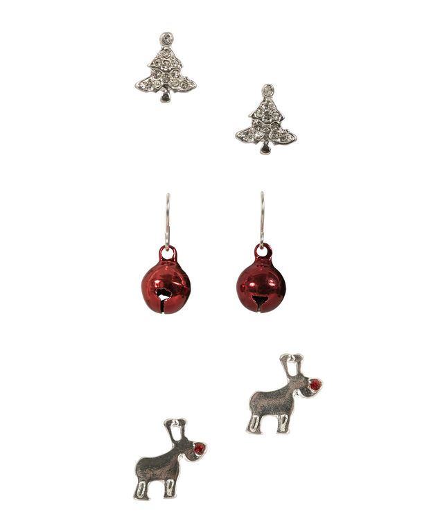 HOLIDAY TRIO EARRING SET, Crimson/Rhodium, hi-res