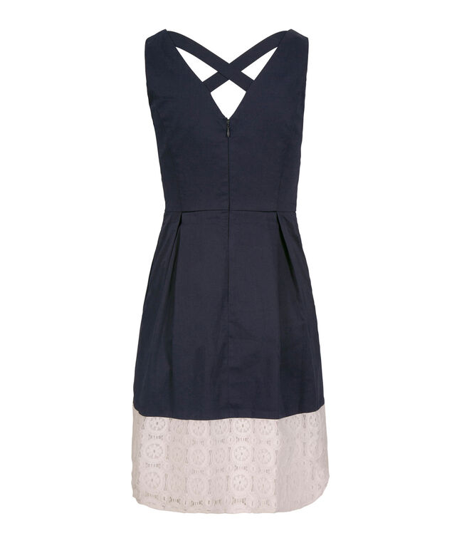 V-Neck Crochet Hem Dress, Navy/White, hi-res
