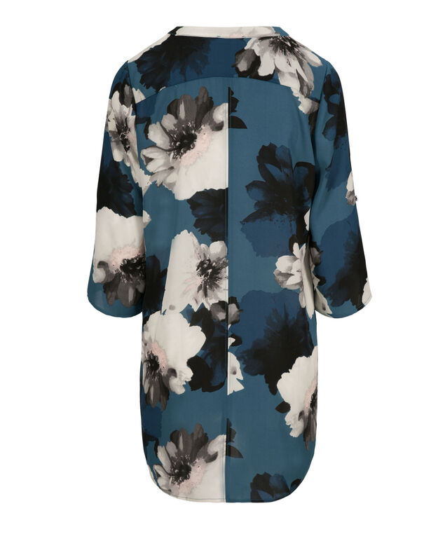Pleated Front Blouse, Deep Teal Print, hi-res