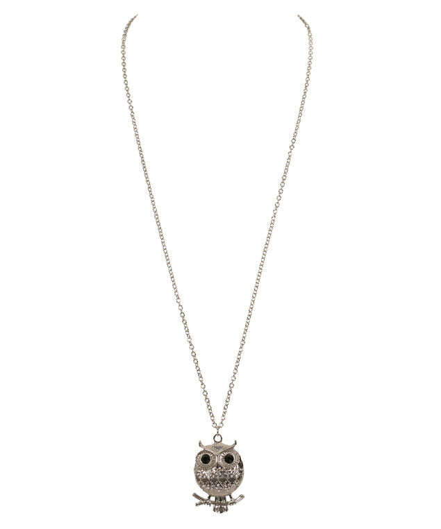 Long Round Owl Pendant Necklace, Black/Clear/Rhodium, hi-res