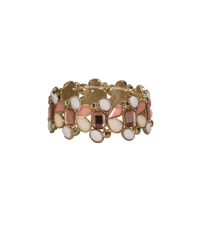 Faceted Stone Stretch Bracelet, Pink/White/Gold, hi-res