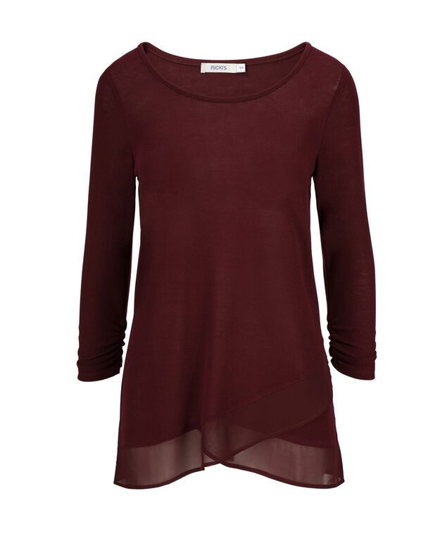 Chiffon Trim Top, Burgundy, hi-res