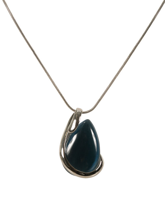 Wrapped Cateye Necklace, Deep Teal/Rhodium, hi-res