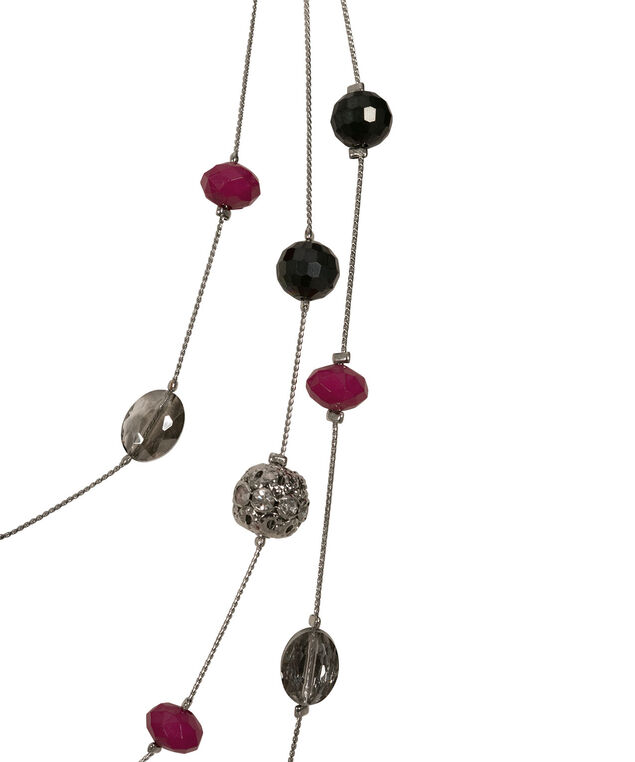 Faceted Stone & Fireball Station Necklace, Hot Pink/Hematite/Rhodium, hi-res