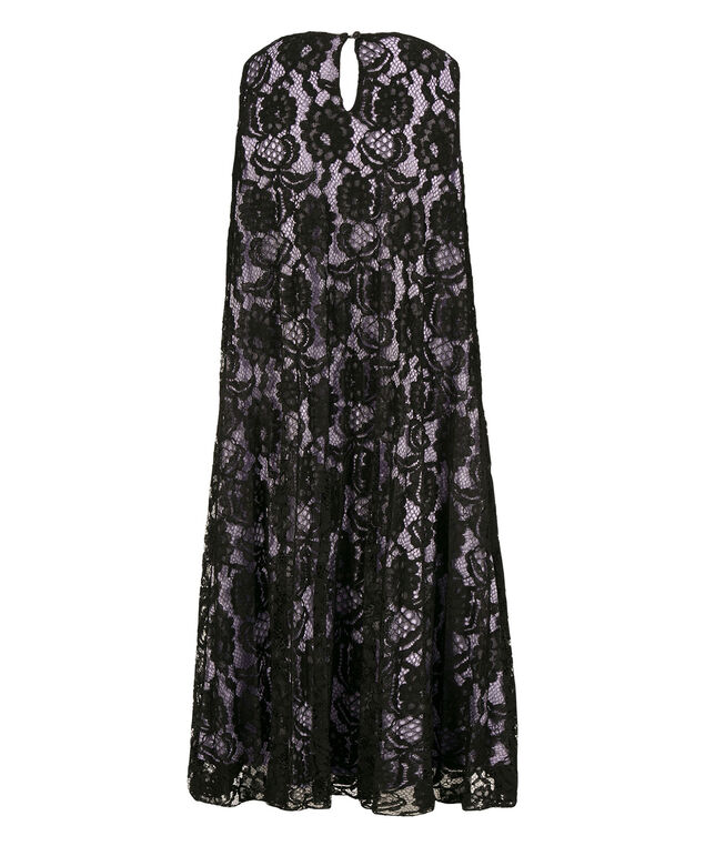 Pleated Lace Trapeze Dress, Black Pattern, hi-res