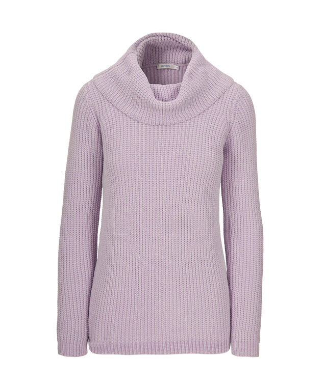 Chenille Cowl Neck Sweater, Iced Violet, hi-res