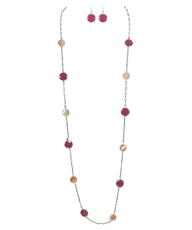 Stationed Bead & Stone Necklace Set, Pink/Ivory/Rhodium, hi-res