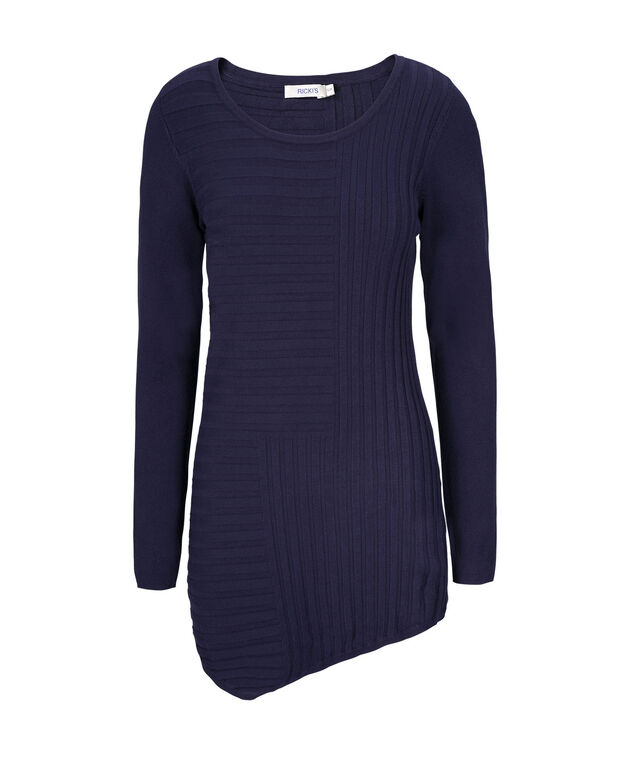 Mid Length Ribbed Pullover, Deep Sapphire, hi-res