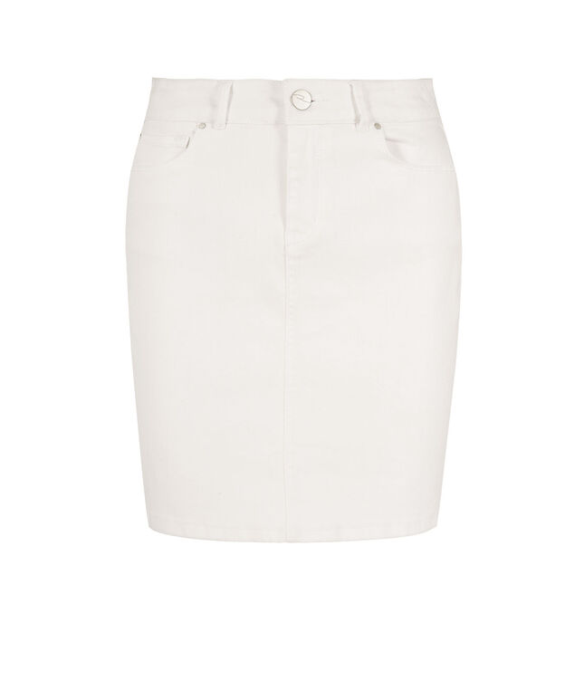 White Denim Skirt, True White, hi-res