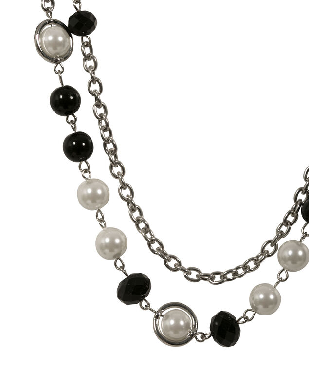 FACETED STONE AND PEARL NECKLACE, White/Black/Rhodium, hi-res
