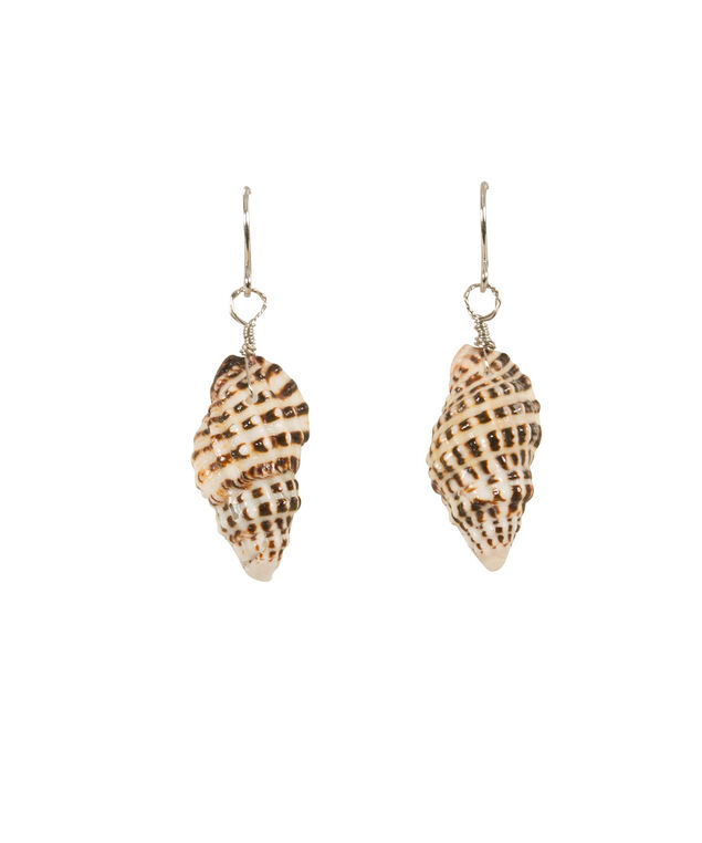 Sea Shell Earrings, Brown/White/Burnished silver, hi-res