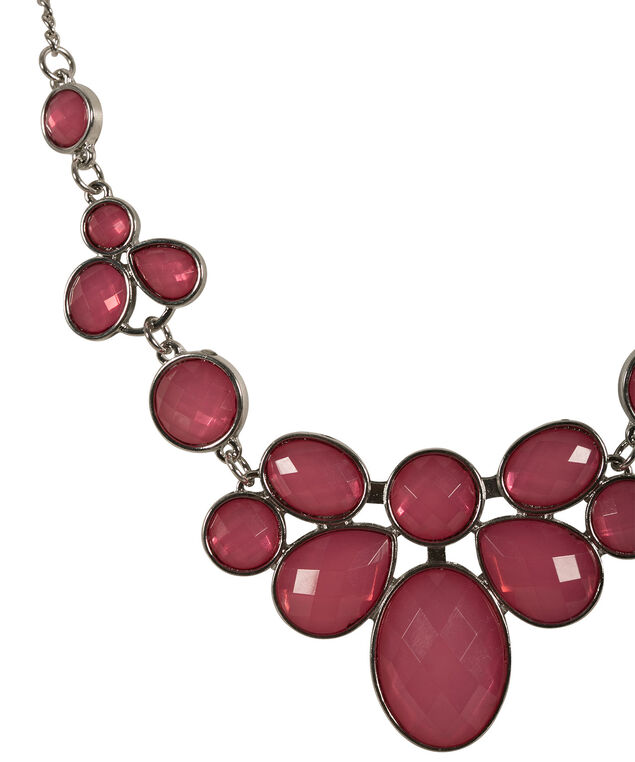 Pink Faceted Stone Necklace, Hot Pink/Rhodium, hi-res