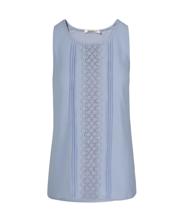Sleeveless Crochet & Pleat Front Top, Chalky Blue, hi-res