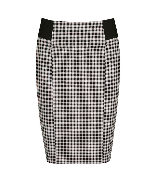 Microtwill Elastic Detail Pencil Skirt, Black/White, hi-res