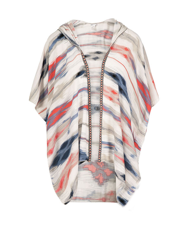 Blurry Stripe Hooded Ruana, Navy/Coral/Chalky Blue, hi-res